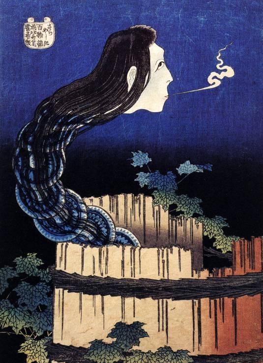 Hokusais Holzschnitt von Okiku in Form einer Schlange aus Tellern.